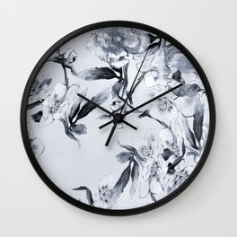 winter roses christmas pattern decor Wall Clock