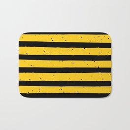 Black Yellow Vintage Stripes Pattern Bath Mat