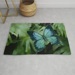 Tropical Blue Ulysses Butterfly Rug