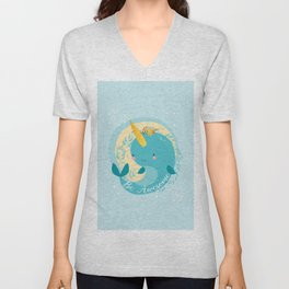 NARWHAL - BE AWESOME! Unisex V-Neck