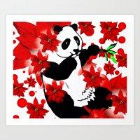 red panda Art Prints featuring Panda by Saundra Myles