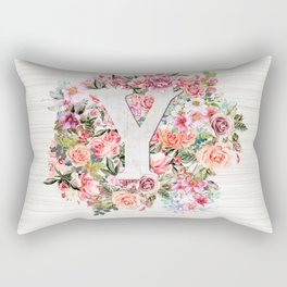 Initial Letter Y Watercolor Flower Rectangular Pillow