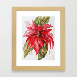Bright Red Poinsettia Watercolor Framed Art Print