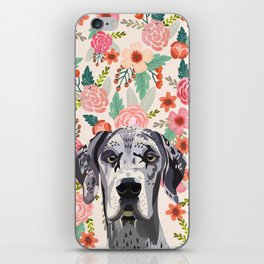 Great Dane florals pet portrait art print and dog gifts iPhone Skin