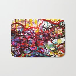 Whimsical Flower Girl's Force Field Acrylic and Watercolor Painting Bath Mat