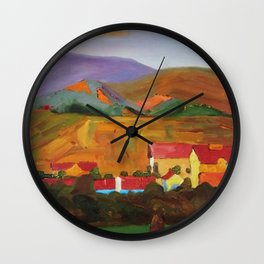 Tuscany Vineyards, Orchards, Village & Rolling Hills landscape painting by Egon Schiele Wall Clock