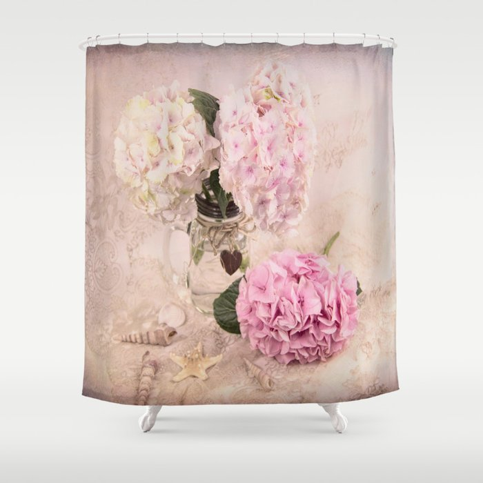 Pink Hydrangeas With Sea Shells Shower Curtain