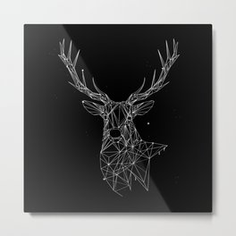 Deer with magnificent antlers of fine lines Metal Print