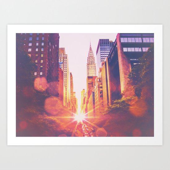 New York City Bokeh Sunset Art Print