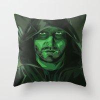 green arrow Throw Pillows featuring Arrow by Digital Sketch