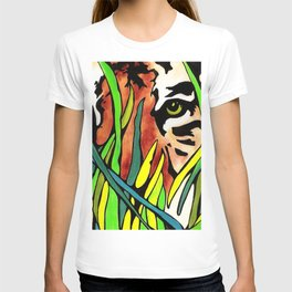 Tiger Eyes Looking Through Tall Grass By annmariescreations T-shirt