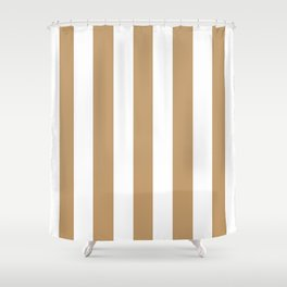 Fallow brown -  solid color - white vertical lines pattern Shower Curtain