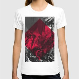 Waves // black and white abstract painting w/ red diamond T-shirt