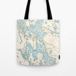 Vintage Muskoka Lakes Map Tote Bag