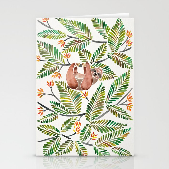 Happy Sloth – Tropical Green Rainforest Stationery Cards