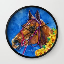 Secretariat Painting, Large Race Horse Watercolor Art Wall Clock