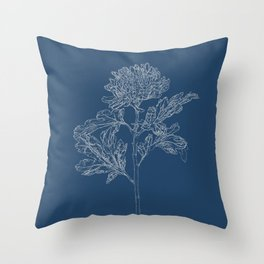 Chrysanthemum Blueprint Throw Pillow