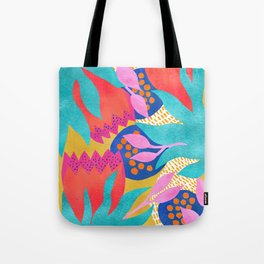 Bold Flower Pattern Yellow Background Tote Bag