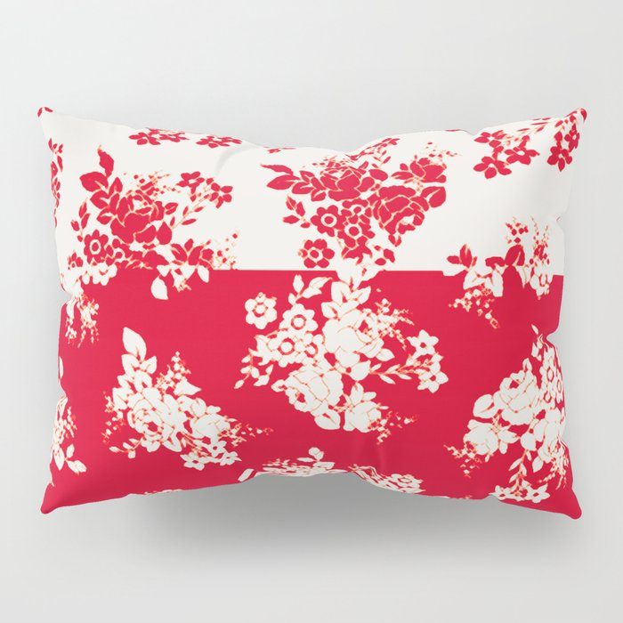 small bouquets in bright red with border Pillow Sham