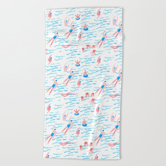 swimmers in the sea pattern Beach Towel