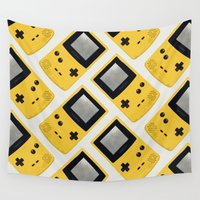 yellow pattern Wall Tapestries featuring Gameboy Color: Yellow (Pattern) by Zeke Tucker