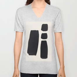 Mid Century Modern Minimalist Abstract Art Brush Strokes Black & White Ink Art Square Shapes Unisex V-Neck