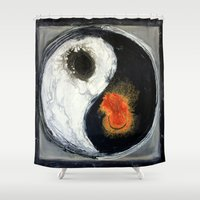 yin yang Shower Curtains featuring Yin Yang by Liz Moran