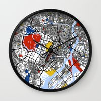 mondrian Wall Clocks featuring Tokyo Mondrian by Mondrian Maps