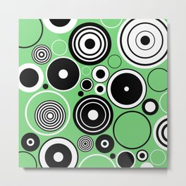 Geometric Black And White Rings On Pastel Green Metal Print