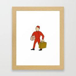 Bellboy Bellhop Carry Luggage Cartoon Framed Art Print