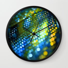 light green yellow bokeh abstract Wall Clock