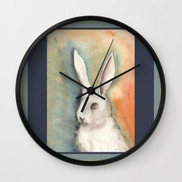 Portrait of a White Rabbit Wall Clock