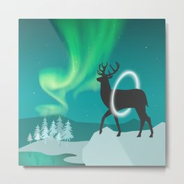 Magic Deer of the North Selas Aurora Borealis Metal Print