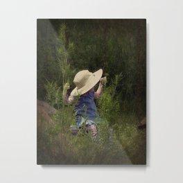 Little Girl on a Swing Metal Print