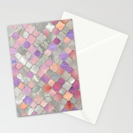 Quatrefoil Moroccan Pattern Mother of Pearl and quartz Stationery Cards