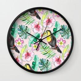 Tropical Toucan Paper-Cut Floral Wall Clock
