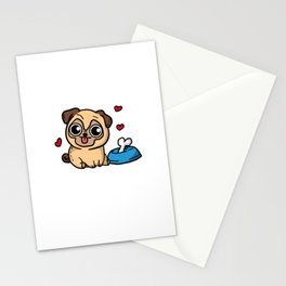 Just A Girl Who Loves Pugs Cute Puppy Dog Costume Stationery Cards