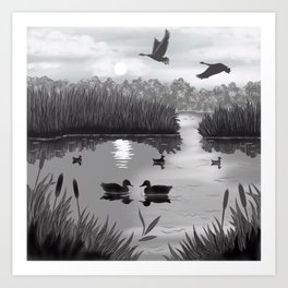 The Pond Black and White Art Print