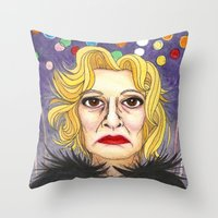 jessica lange Throw Pillows featuring Ms. Lange  by Insomnious