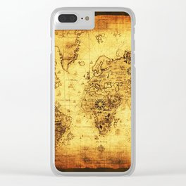 Arty Vintage Old World Map Clear iPhone Case