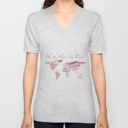 Cotton Candy Sky World Map - Oh, the Places You'll Go! Unisex V-Neck