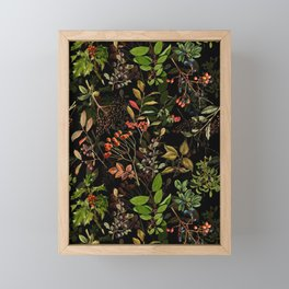 Vintage & Shabby Chic - vintage botanical wildflowers and berries on black Framed Mini Art Print