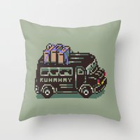 earthbound Throw Pillows featuring Runaway 5 Van - Mother 2 / Earthbound by Studio Momo╰༼ ಠ益ಠ ༽
