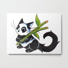Panda Cat Metal Print
