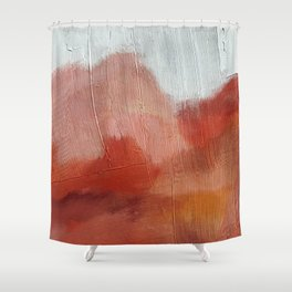 Desert Journey [2]: a textured, abstract piece in pinks, reds, and white by Alyssa Hamilton Art Shower Curtain