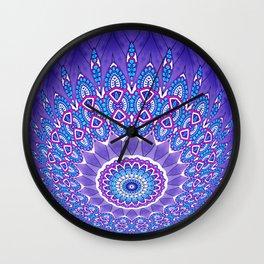 Indian Patterns Mandala Ball - Blue Pink White Wall Clock
