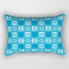 Blue Geometric Floral Rectangular Pillow