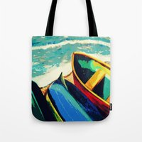 boats Tote Bags featuring Boats by Christina Rowe