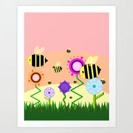 Bees! Art Print
