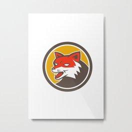 Red Fox Head Growling Circle Retro Metal Print